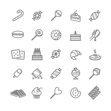 Outline icons set - candy, cakes, cookies, sweet, ice cream