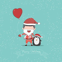 Boy and Penguin cute Christmas character. drawing by hand vector