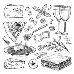 Hand drawn vector illustration - Italian food