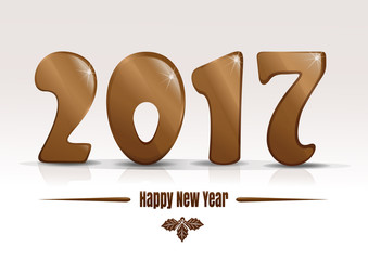 Happy new year 2017. Gold lettering on a white background. Christmas text design. Vector illustration