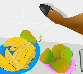 Bodegón con plátanos, peras conferencia y pata de jamón ibérico.