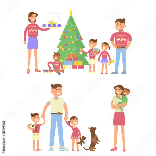 Mother Christmas Cartoon.Happy Family Concept In Flat Design Christmas Eve Mother