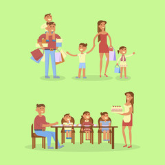 Set of big Family portrait. Shipping and dinner. Mom, dad, son, daughter and baby. Vector flat illustration.