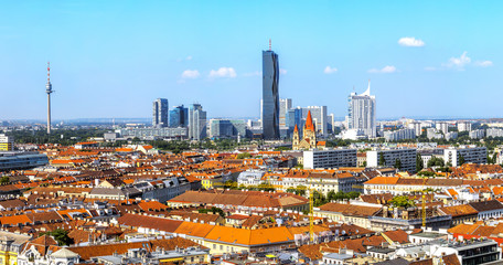 Panoramic View on Vienna  from the top  the Ferris Wheel in sunny day.