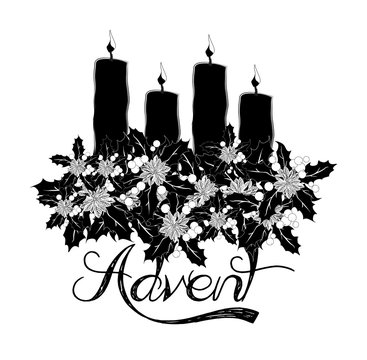 Advent wreath with four burning candles, abstract artistic watercolor illustration for the Christmas time