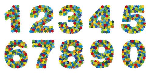 Ziffern, Zahlen aus Konfetti