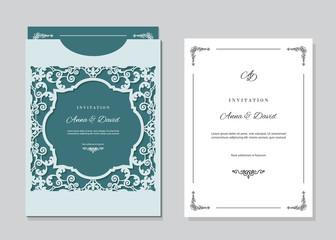 Wedding invitation card and envelope template with laser cutting filigree frame.