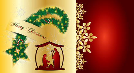 Christmas nativity scene, Holy family Mary Joseph and baby Jesus, abstract holiday background, with pine tree holiday wreath in shape of a Christmas star, with poinsettia, lights and decorations.