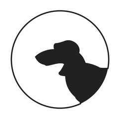 Silhouette of a dog head dachshund