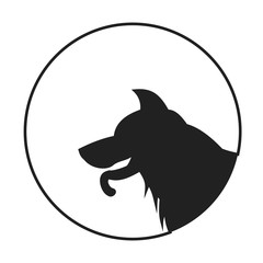Silhouette of a dog head german shepherd