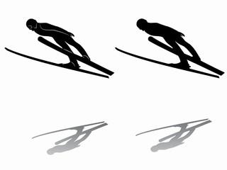 silhouette ski jumper. vector drawing