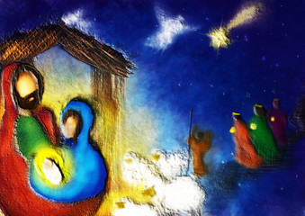 Christmas nativity religious Bethlehem crib scene, with Holy family of Mary, Joseph and baby Jesus and three wise men and shepherd. Abstract artistic holiday background illustration.
