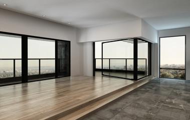 Spacious empty condominium room with windows