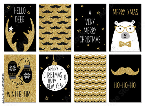 Christmas Hipster Greeting Card Templates Gold Glitter Black And