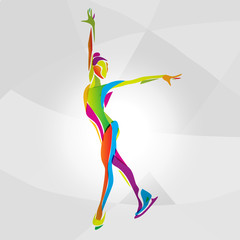 Multicolor silhouette of ice skating girl