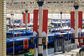 Aluminium Prints Train Station Waterloo train station in London