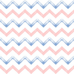 Zigzag chevron grunge seamless pattern in color 2016 rose quartz and serenity, hand painted vector seamless background of pink and lilac zig zag stripe for textile, wrapping, paper, card, invitation