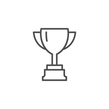 Vector cup. Thin line winner cup. Trophy cup icon. Black Cup isolated on white background. Winner cup. Victory cup icon. Trophy cup symbol. First place cup. Minimalistic hipster cup. Win vector cup.