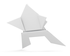 Paper origami frog isolated. 3d rendering