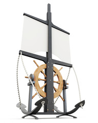 Design signs in a nautical theme isolated. 3d rendering