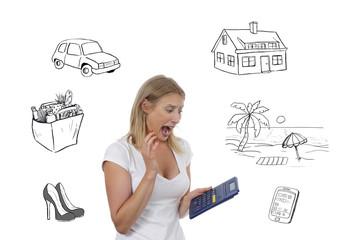 jeune femme blonde comptant son budget avec dessins