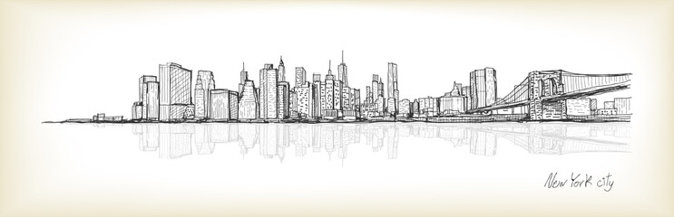 city scape sketch drawing in New York city