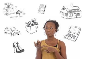 jeune femme noire comptant son budget avec dessins