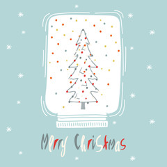 Greeting card: Merry Christmas.  Card for winter holidays. Vector cartoon illustration.