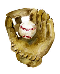 watercolor sketch of baseball glove and ball on white background