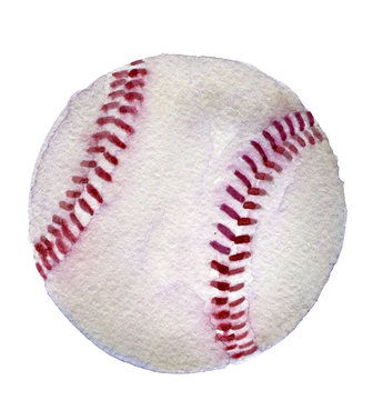watercolor sketch of baseball on white background