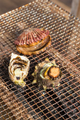 Seafood barbecue - Oyster and scallop grill