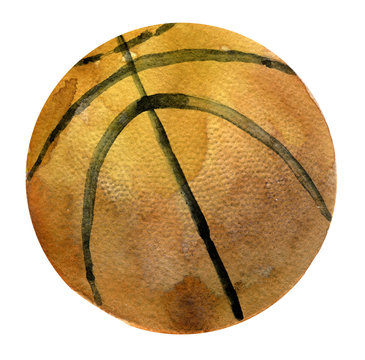 watercolor sketch of basketball ball on white background