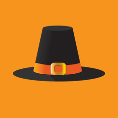 Pilgrim's Hat Isolated. Vector Illustration of a pilgrim's hat, also known as cockel hat or traveller's hat. Thanksgiving icon.