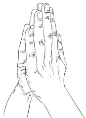 Praying hands, detailed black and white lines vector illustratio