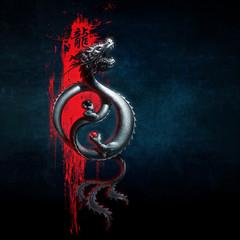 Oriental Dragon Yin-Yang Red Blue.