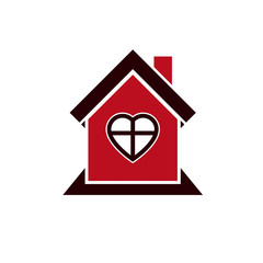 Family house abstract icon, harmony at home concept. Simple buil