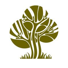 Vector image of single creative tree, nature concept. Art symbol