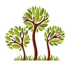 Vector image of creative tree, nature concept. Art symbolic illu