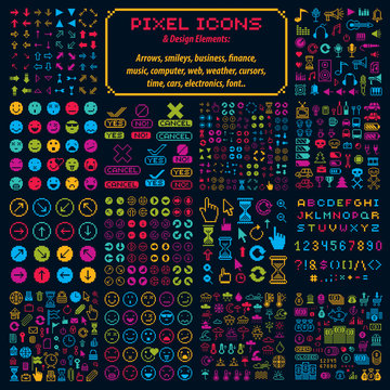 Vector flat 8 bit icons, collection of simple geometric pixel sy