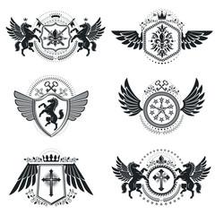 Vintage decorative emblems compositions, heraldic vectors. Class