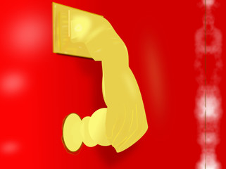 Picaporte en forma de mano femenina de color dorado sobre puerta roja.