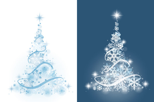 Christmas tree from snowflakes on white and blue background
