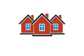 Abstract simple country houses vector illustration, homes image.