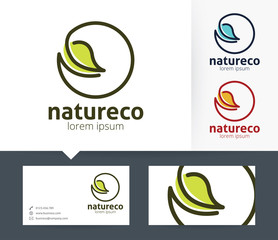 Nature Eco vector logo with business card template