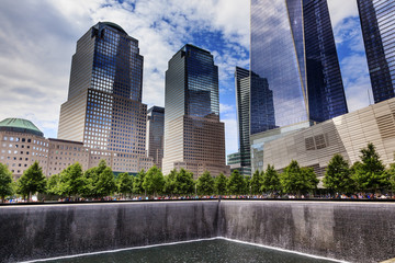World Trade Center Memorial Pool Fountain Waterfall Skyscrapers