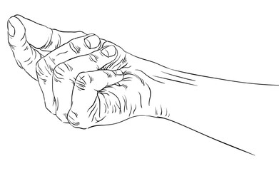 Hand asking about payment, detailed black and white lines vector