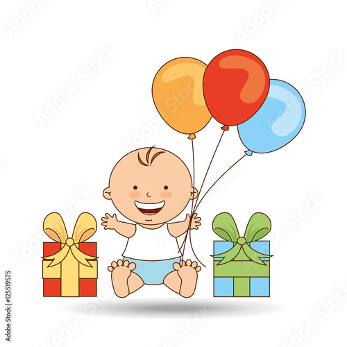 Baby Gift Vector : Quot cheerful baby gift and balloons design vector