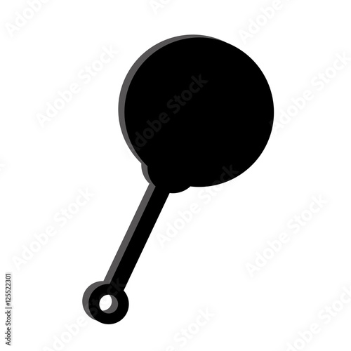 """silhouette of baby rattle toy icon over white background ..."