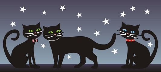 Three cats, nighttime. Vector background.