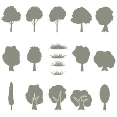 Vector collection of tree silhouettes isolates on white background